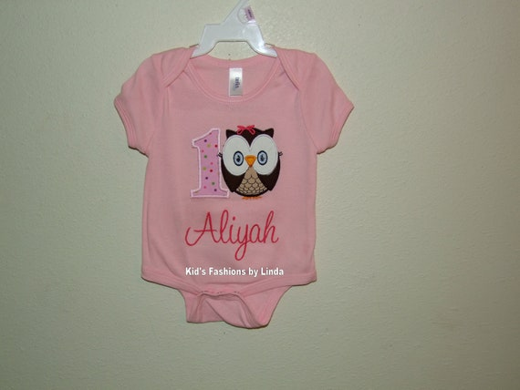 Pink Bodysuit or T-shirt with Number Owl  Applique-Personalization EXTRA