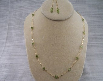 Peridot Gemstones & Gold Chain Necklace Set 273S