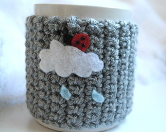 Cup Cozy - A BUG ON A MUG Cozy Ladybug on a Rainy Cloud, coffee sleeve, cup cozy, mug cozy, rain, cloud, ladybug, ladybird, crochet cozy,