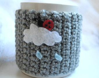 Cup Cozy - A BUG ON A MUG Cozy Ladybug on a Rainy Cloud, coffee sleeve, coffee cozy, mug cozy, rain, cloud, ladybug, ladybird, crochet cozy,