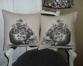 Skull with Rosevine Pillow Cover Set