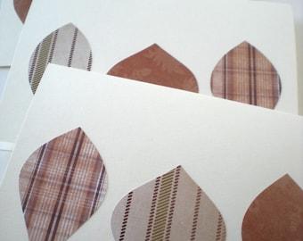 Leaf Trio 3-Card Set Handmade Autumn Fall Woodland Forest Natural Earth Tones