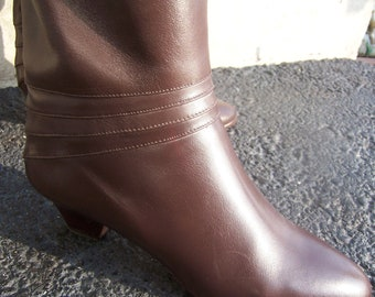 Brown Leather Boots - Hana Mackler Italian Leather Boots - CLERANCE PRICED - 1980 Boots - Low heel boots - Womens boots