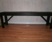 wooden bench 4' rustic   free color custom orders