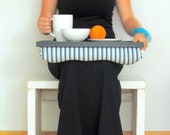 Laptop Lap Desk or Breakfast serving Tray, Stable table - Black with Aqua and Grey stripes