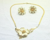Reserved for  Margaret T Mid Century Gold Cream Flower Necklace  Fall Winter Fashion Bridal Gift for Her