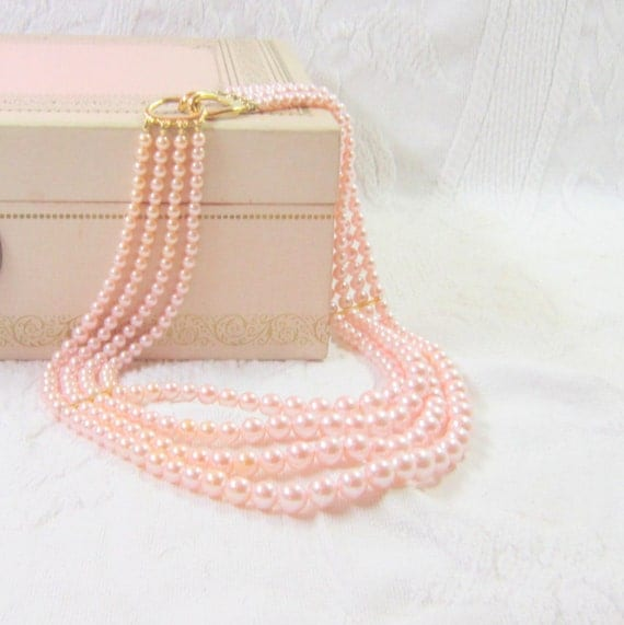 Vintage Pink Necklace Midcentury Jewelry  Pearl Necklace Classic Gift for Her Mad Men Acessory Holidays  Fashion