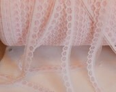 """3 yds- Petite White and Pink Doll Lace, Trim -Dolls - Lingerie, Weddings - 7/16"""" Wide - Lamp Shades, Crazy Quilts"""