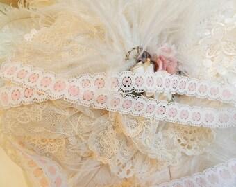 3 yds - White trim - pink center  - Romantic trim,