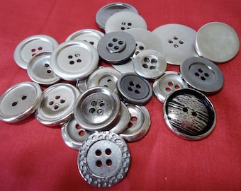 25 Metal buttons mixed sizes, styles, 2 hole, 4 hole and shank sew though. See below for sizes and nos. available. UNK11.00-12.4-23.10.