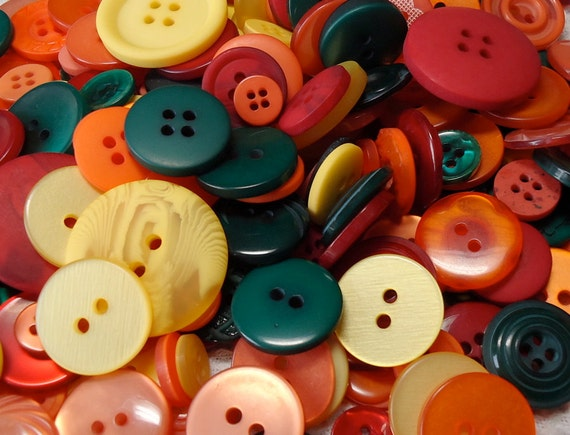 Mix of vintage and newer plastic buttons. Mixed sizes, colours, styles.  Some 2 hole, some 4, some tunnel. HM12.3-24.2LL(2)