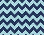 LAMINATED cotton fabric by the yard - Navy tonal Chevron yardage (aka oil cloth vinyl slicker coated fabric)