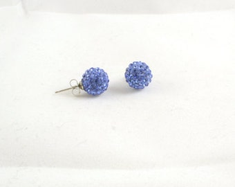 Blue Shamballa Pave Rhinestone Swarovski  Crystal 10mm earring posts (ERML1009)- 1 pair