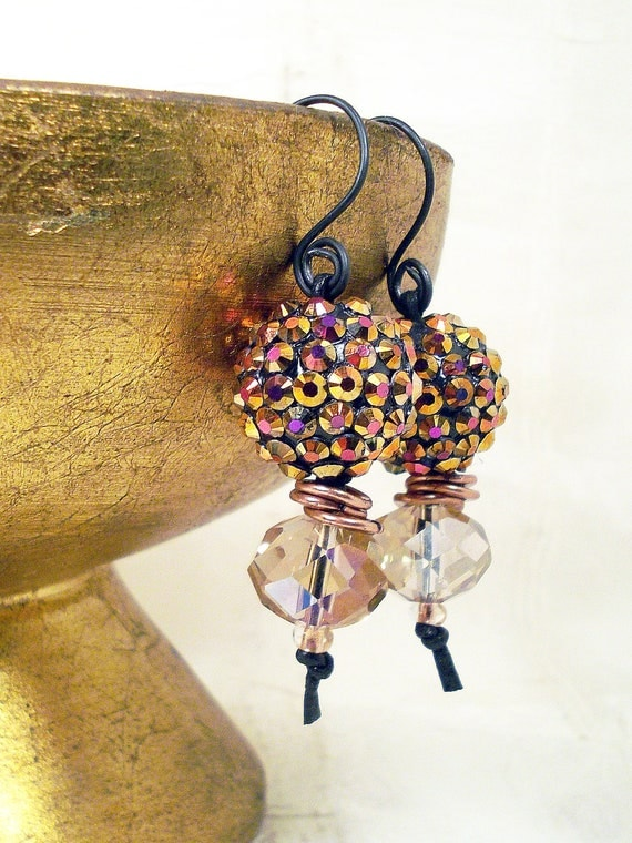 Boho, Gypsy earrings rhinestone embedded round with crystal, copper links, black wire, black leather: Wild and Wooly