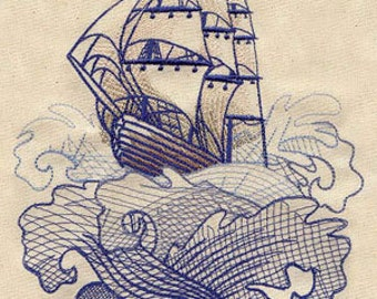 Ship Seven Seas Tattoo Style Embroidered Flour Sack Hand/Dish Towel