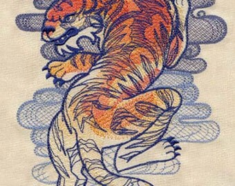 Seven Seas Tiger Tattoo Style Embroidered Flour Sack Hand/Dish Towel