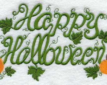 Happy Halloween Vines and Pumpkins Embroidered Flour Sack Hand/Dish Towel