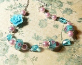 Aqua Blue Resin Flower & Rose Lampwork Romantic Floral and Silver Necklace