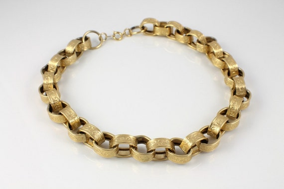 Reserved for Irina - Vintage Trifari necklace Victorian Embossed links goldtone chunky