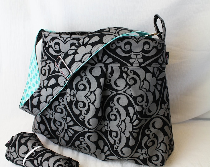 Large Diaper bag Set with Changing Pad - Emma Large in Gray Damask and Sea Dot- or Custom Diaper Bag with Adjustable Strap Elastic Pockets