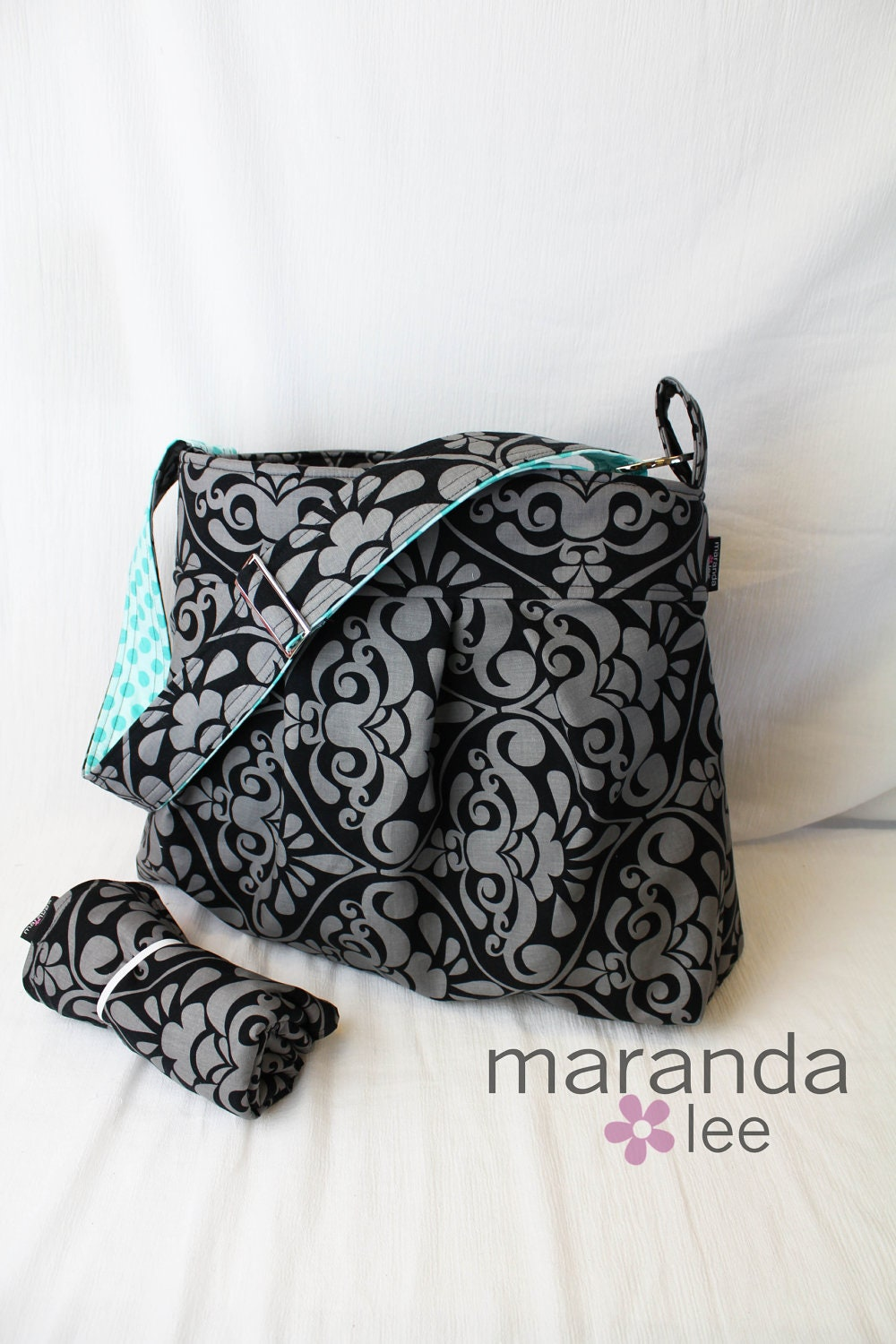 large diaper bag set with changing pad emma large in gray. Black Bedroom Furniture Sets. Home Design Ideas