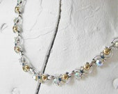 Vintage Blue Rhinestone Choker Necklace, 60s