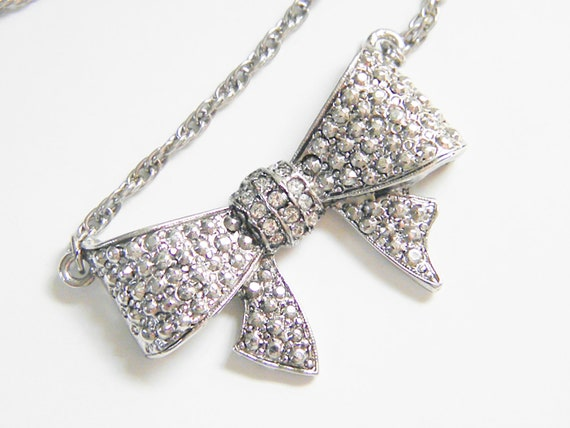 Vintage Clear Rhinestone Bow Necklace Choker, 60s