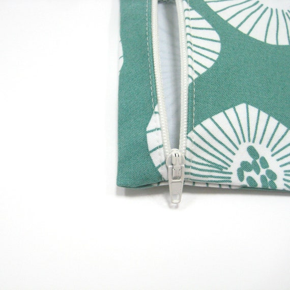 Coin purse with keyring, Teal white zippered coin pouch, Budget friendly gifts for girls under 20