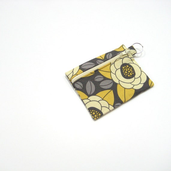 Small zipper keychain pouch keyring, grey mustard yellow Fabric coin purse, Change wallet, Gifts for Mom under 15, greengrass2