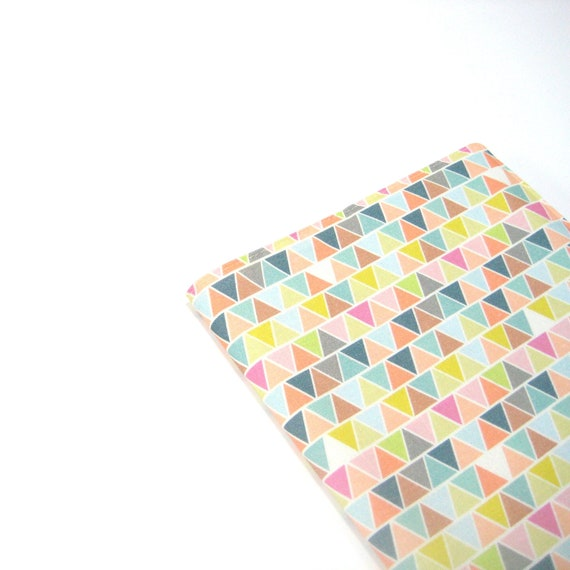 A5 diary with fabric cover, pastel triangles geometric fun high fashion accessories, day planner or notebook