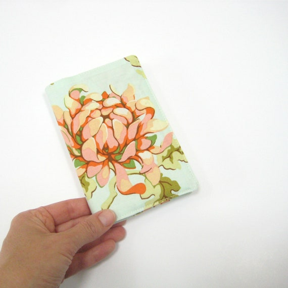 Moleskine journal cover, aqua peach floral, pocket Moleskine 2013 planner cover fits 9x14cm hardcover