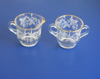 Vintage Mid Century Clear Glass Creamer and Sugar / Salt and Pepper Shaker - with grapevine design