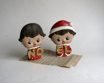 Vintage 1960's NOEL Little Boy and Girl Christmas Figurines