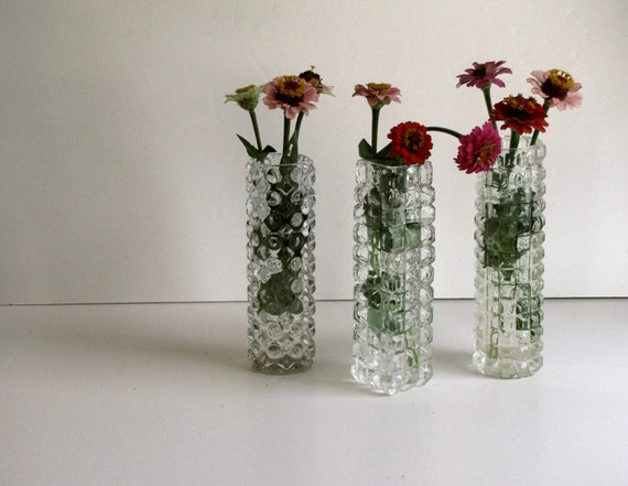 Vintage Clear Glass Bud Vases - Set of Three