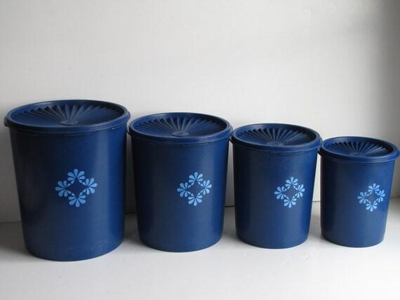 Vintage navy blue tupperware canisters by heartlandvintageshop