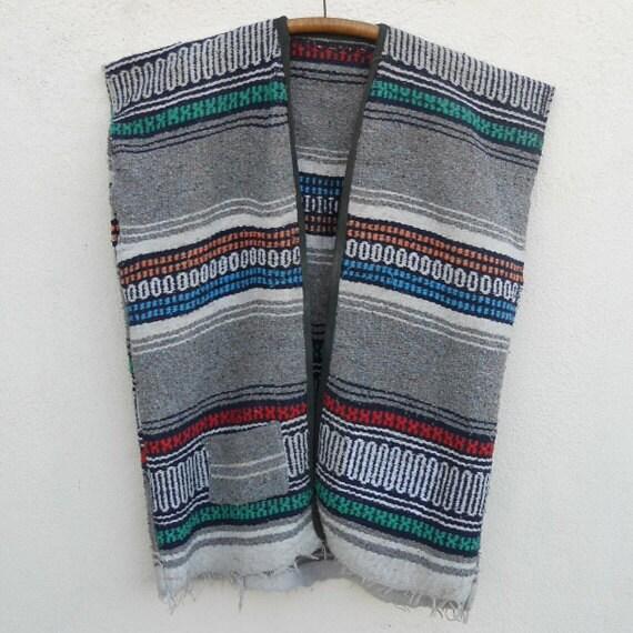 Vintage 60s/70s Striped MEXICAN BLANKET Vest