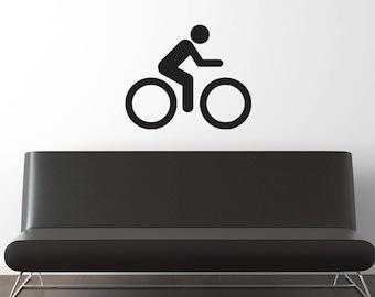 Biking Wall Decal  - Bike Wall Sticker - For Car Window, Laptop