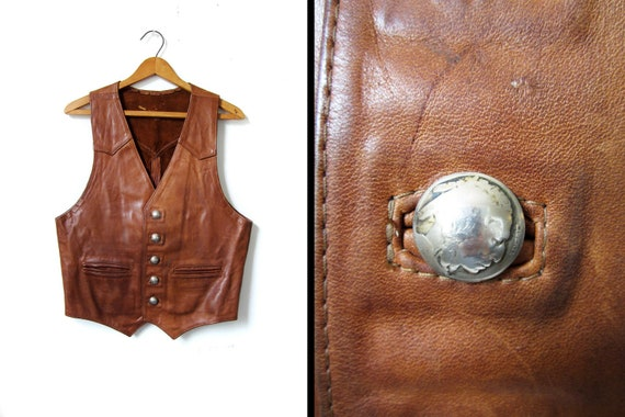 60s Handmade Leather Vest Indian Head Nickel Buttons - Mens Medium