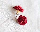 Red Rose Flower Earrings . Cute . Bridal . Wedding . Gift for her . Christmas