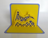 ROLLER COASTER 3D Pop Up Card. Greeting Card, Birthday, Vacation, Home Decoration Handmade Origamic Architecture in Bright Yellow and Purple