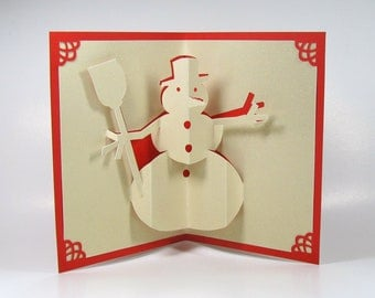 SNOWMAN 3D Pop Up CHRISTMAS Greeting Card Home Décor Handmade Handcut Origamic Architecture in Shimmery Sparkling Sand Beige and Red OOAK