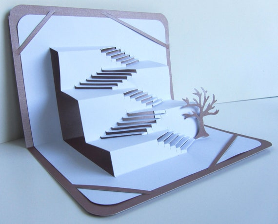 3D Pop Up STAIRS TO SUCCESS Greeting Card Home Decor Origamic Architecture of Intricate Cuts in White and Metallic Mauve Antique Rose