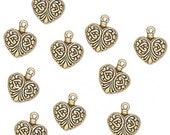 Antiqued Gold Finished Fancy Heart Charms 15x14mm 10 Pcs  M160