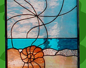 "Stained Glass Window Panel - ""Shell""  Abstract Stained Glass"