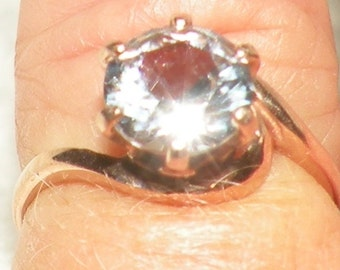 14kt Rose Gold 1.55ct White Sapphire Engagement Ring