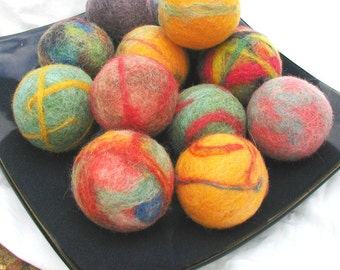 Colorful Felted Cat Toys - Plastic Covered Jingle Bell Inside - Set of three balls