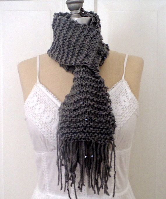 Gray Handmade Knit Scarf with Small Sequin Accenting and Fringe