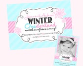 Beautiful Winter Wonderland Invitation - With or without photo