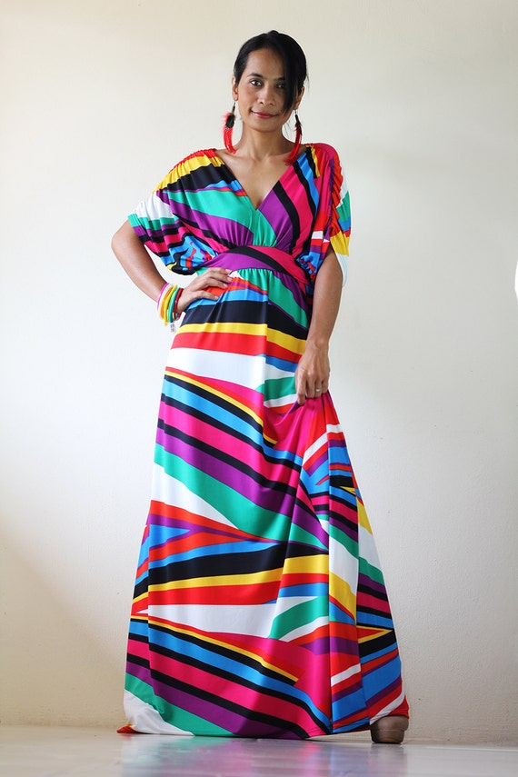 Kimono Maxi dress Rainbow Long Elegant Summer Evening gown : Elegant Collection