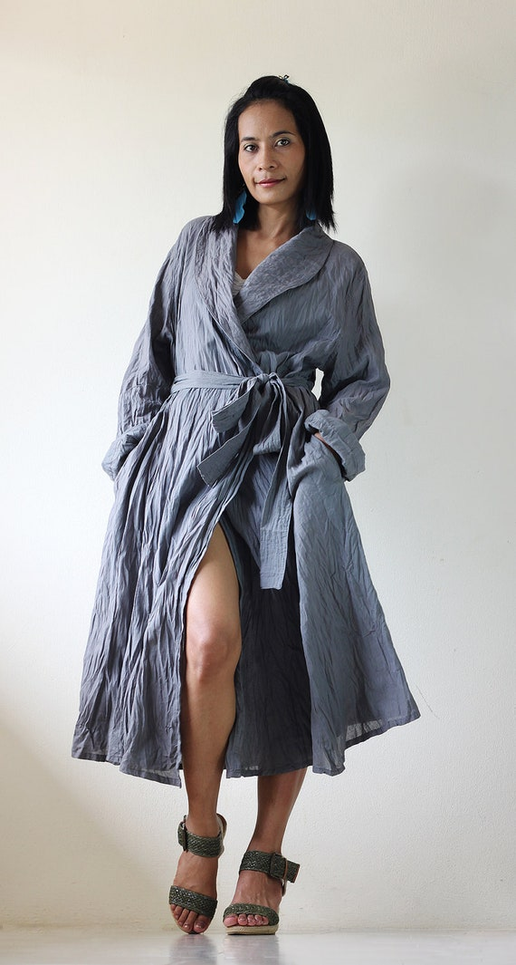 Long Trench Coat - Grey Stonewashed Autumn Winter Dress : Natural Romantic Collection